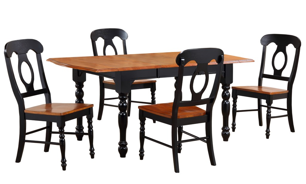 Sunset Black Cherry Drop Leaf Extendable Dining Set Napoleon Chairs