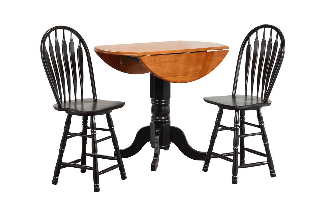 "Sunset Trading 3 Piece Drop Leaf Pub Table Set with 24"" Swivel Barstools - Sunset Trading DLU-TPD4242CB-B24-AB3PC"