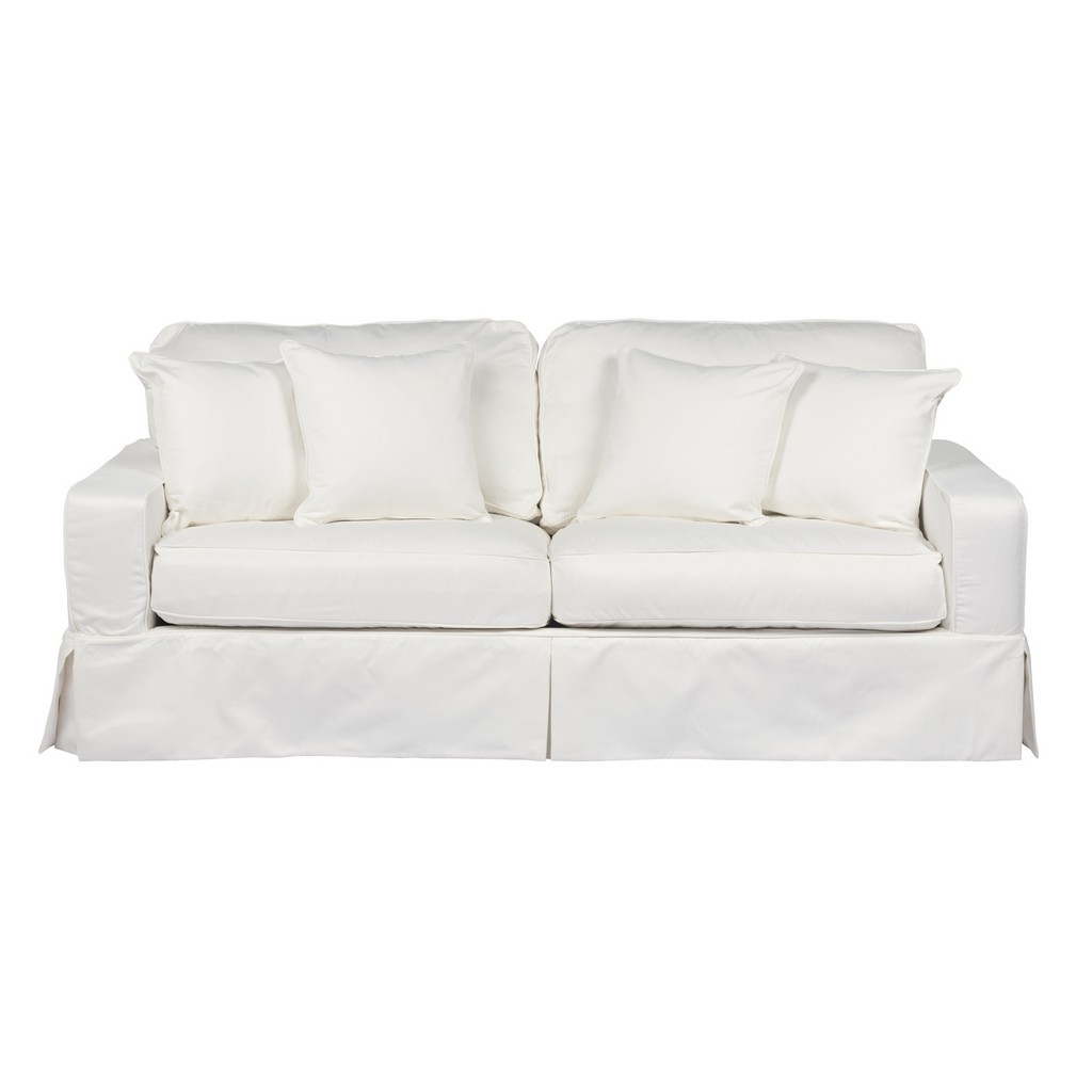 Sunset Trading Americana Box Cushion Slipcovered Sofa In White Performance Fabric - Sunset Trading SU-108500-391081