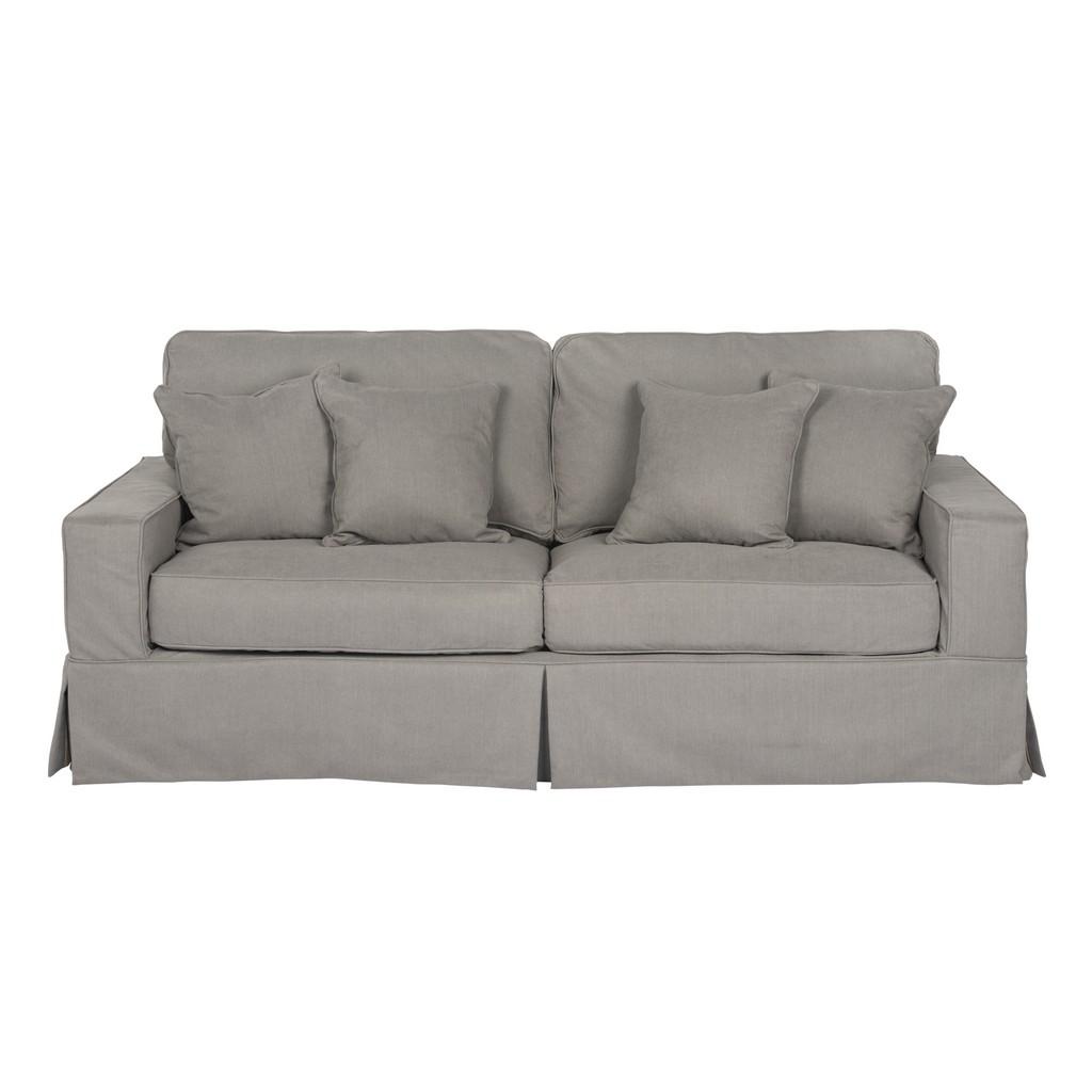 Sunset Trading Americana Box Cushion Slipcovered Sofa In Gray Performance Fabric - Sunset Trading SU-108500-391094