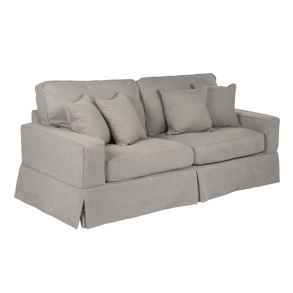 Sunset Trading Americana Slipcover for Box Cushion Track Arm Sofa In Gray Performance Fabric - Sunset Trading SU-108500SC-391094
