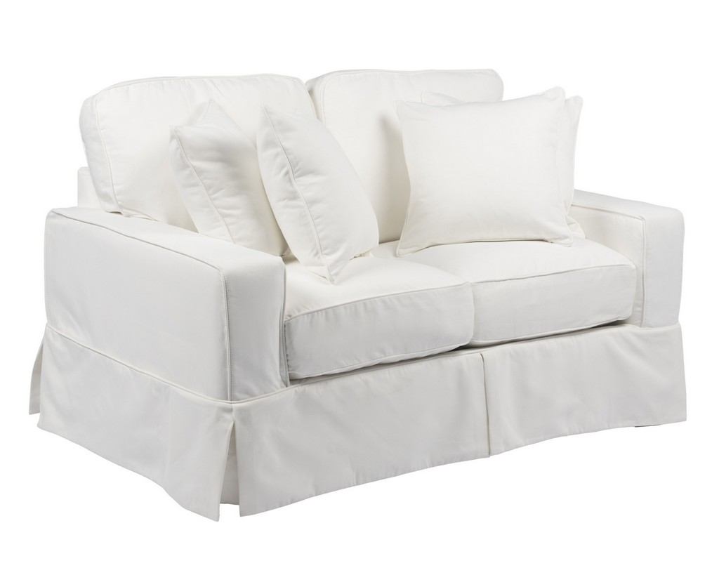 Sunset Trading Americana Slipcover for Box Cushion Track Arm Loveseat In White Performance Fabric - Sunset Trading SU-108510SC-391081