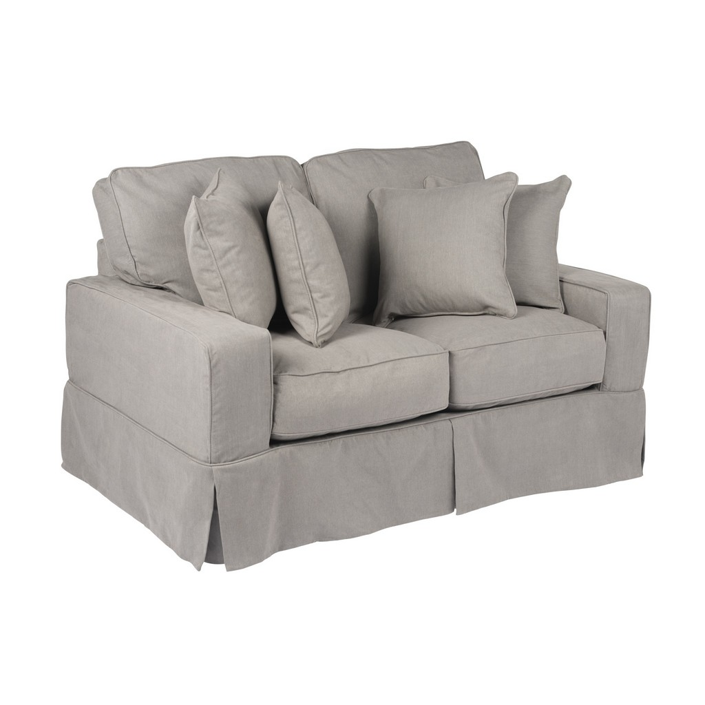 Sunset Trading Americana Slipcover for Box Cushion Track Arm Loveseat In Gray Performance Fabric - Sunset Trading SU-108510SC-391094