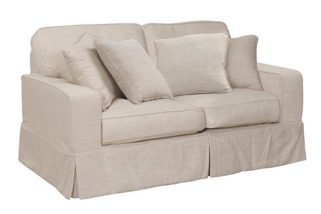 Sunset Trading Americana Slipcover for Box Cushion Track Arm Loveseat In Linen - Sunset Trading SU-108510SC-466082