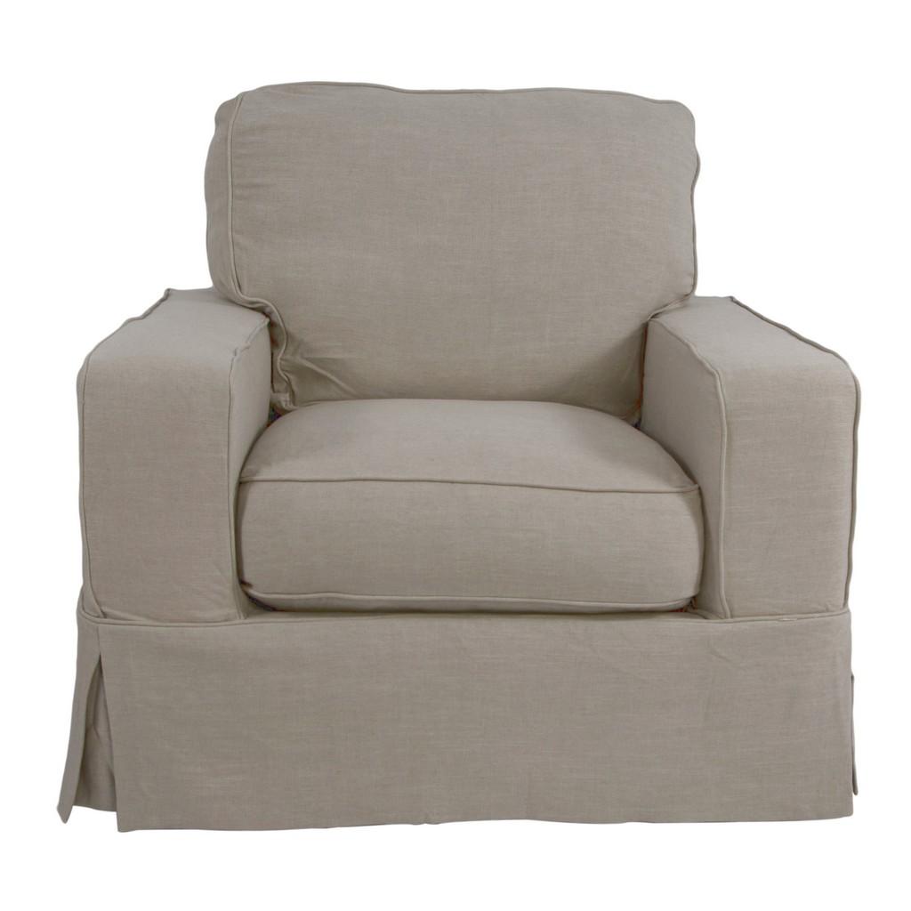 Sunset Trading Americana Box Cushion Slipcovered Chair In Light Gray - Sunset Trading SU-108520-220591