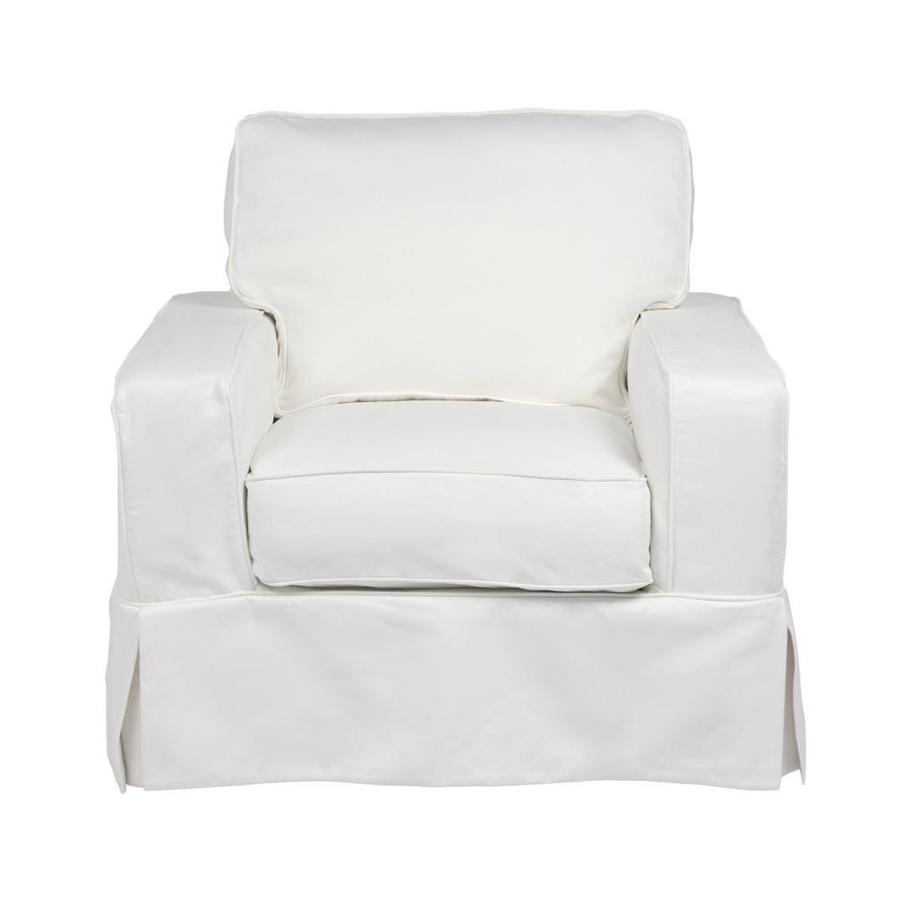 Sunset Trading Americana Box Cushion Slipcovered Chair In White Performance Fabric - Sunset Trading SU-108520-391081