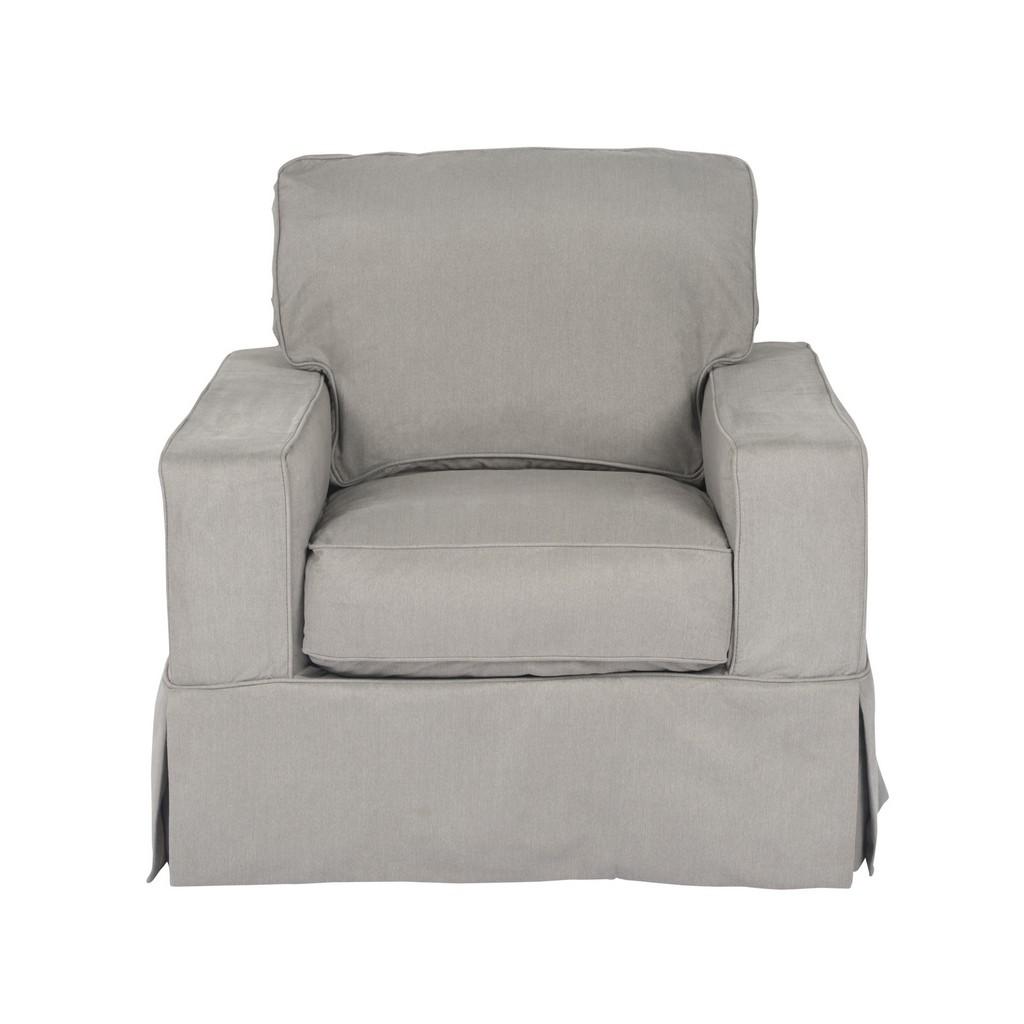 Sunset Trading Americana Box Cushion Slipcovered Chair In Gray Performance Fabric - Sunset Trading SU-108520-391094