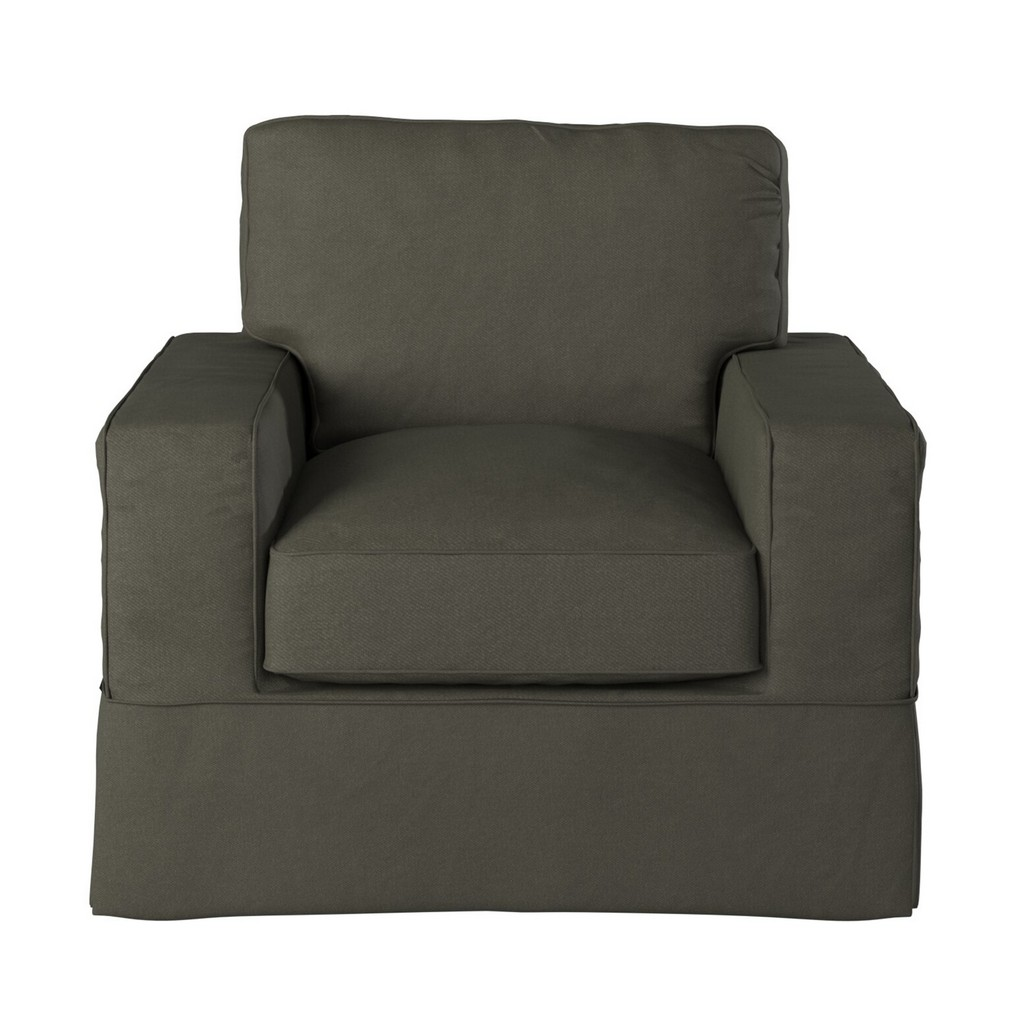 Sunset Trading Americana Box Cushion Slipcovered Chair In Forest Green - Sunset Trading SU-108520-410026