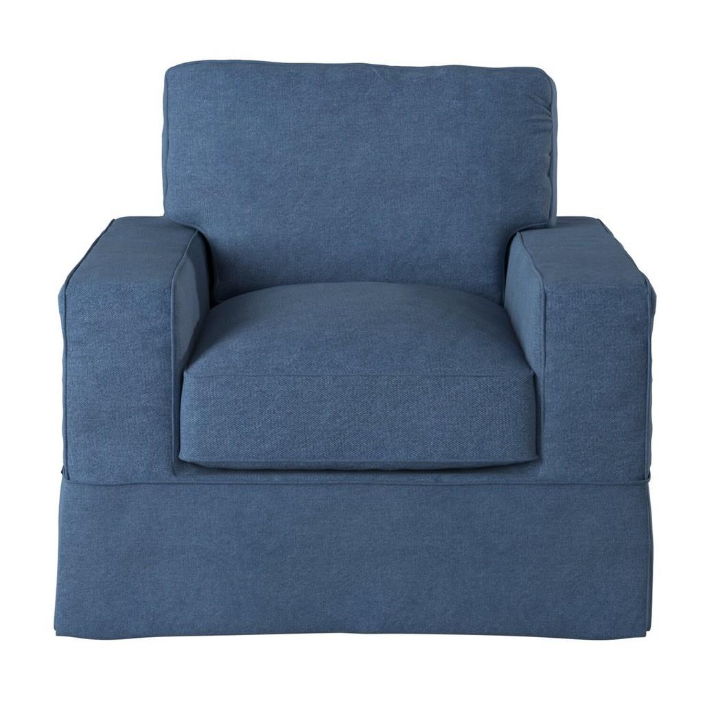 Sunset Trading Americana Box Cushion Slipcovered Chair In Indigo Blue - Sunset Trading SU-108520-410046