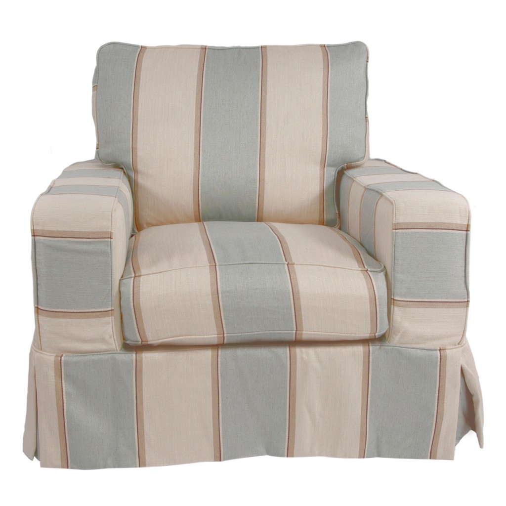 Sunset Trading Americana Box Cushion Slipcovered Chair In Striped Beach House Blue - Sunset Trading SU-108520-479541