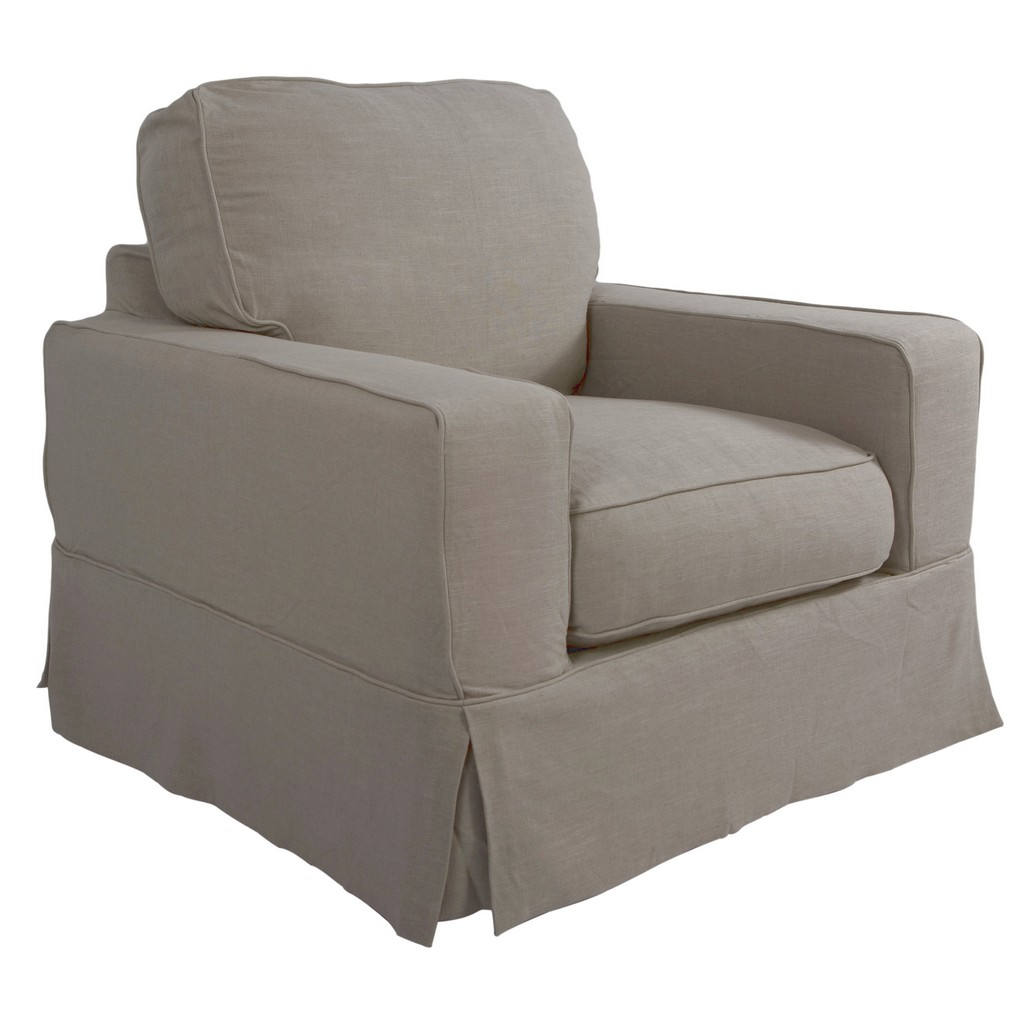 Sunset Trading Americana Slipcover for Box Cushion Track Arm Chair In Light Gray - Sunset Trading SU-108520SC-220591