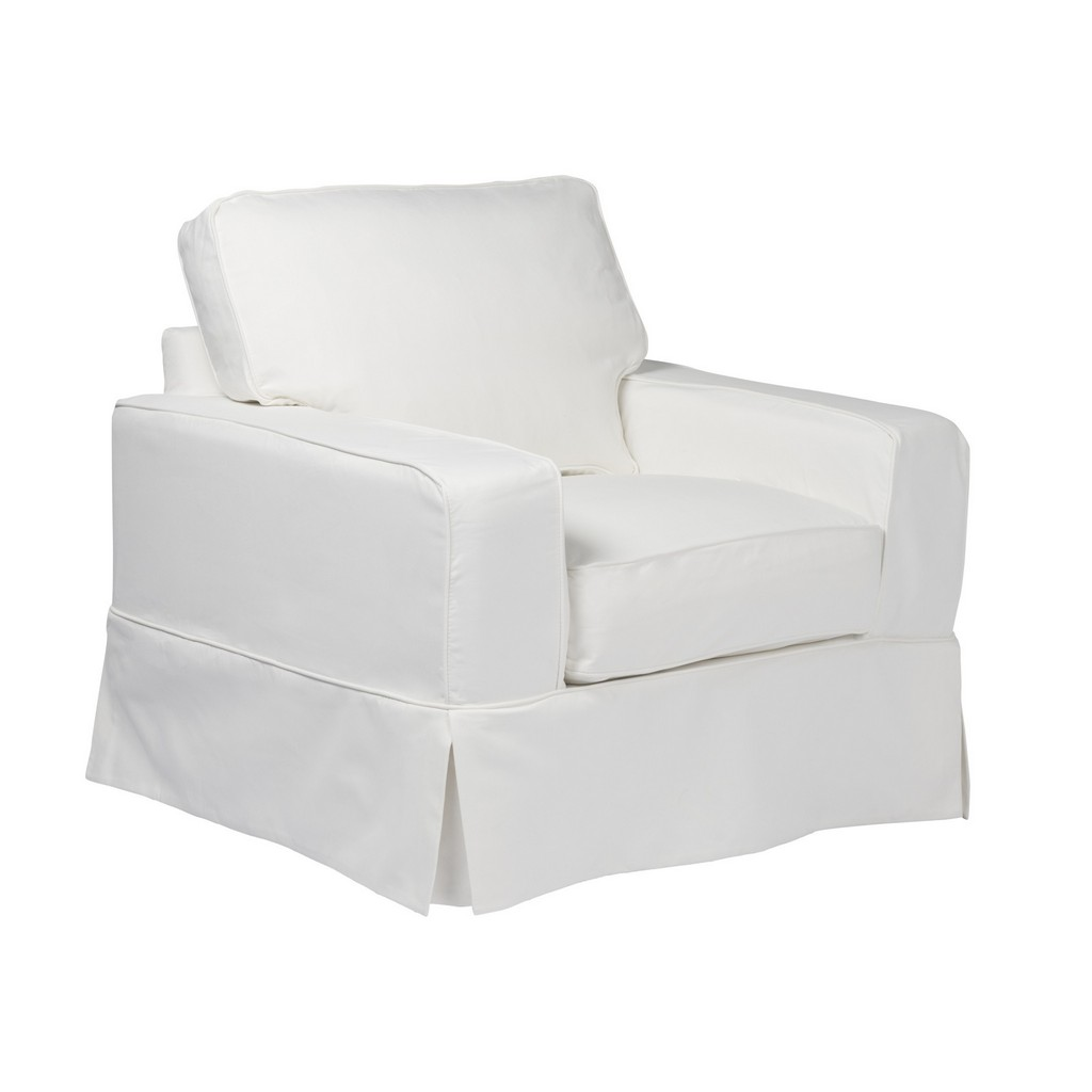 Sunset Trading Americana Slipcover for Box Cushion Track Arm Chair In White Performance Fabric - Sunset Trading SU-108520SC-391081