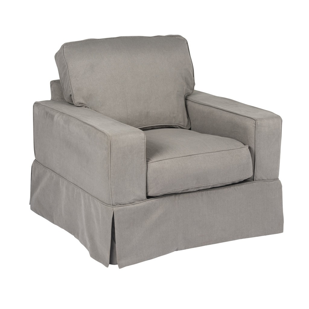 Sunset Trading Americana Slipcover for Box Cushion Track Arm Chair In Gray Performance Fabric - Sunset Trading SU-108520SC-391094
