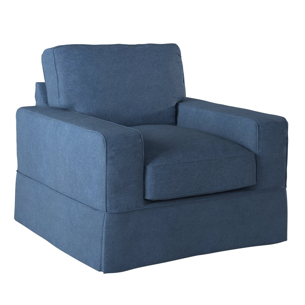 Sunset Trading Americana Slipcover for Box Cushion Track Arm Chair In Indigo Blue - Sunset Trading SU-108520SC-410046