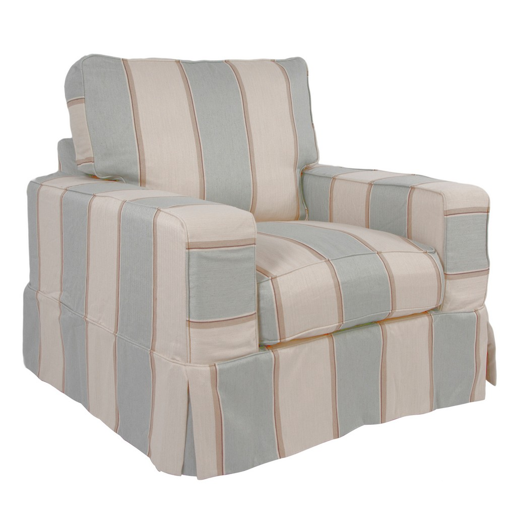 Sunset Trading Americana Slipcover for Box Cushion Track Arm Chair In Striped Beach House Blue - Sunset Trading SU-108520SC-479541