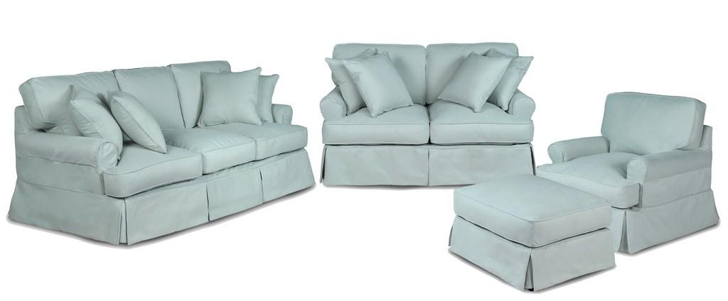 Slipcovered Living Room Set Washable Moisture Stain Resistant Ocean Blue