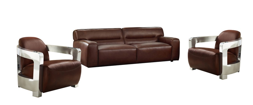 Sunset Leather Living Room Set Sofa Two Aviator Chairs Chrome Arms Brown