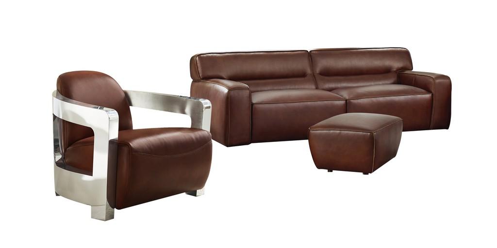 Leather Living Room Set Sofa Aviator Chair Chrome Arms Ottoman Brown