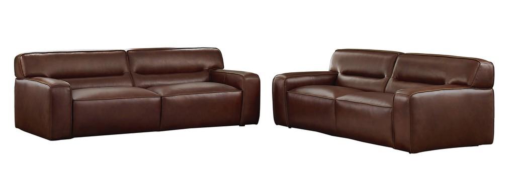 Leather Living Room Set Sofa Loveseat Brown