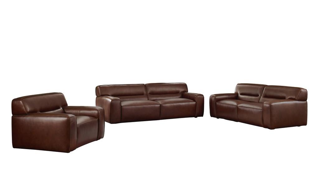 Sunset Leather Living Room Set Sofa Loveseat Armchair Brown