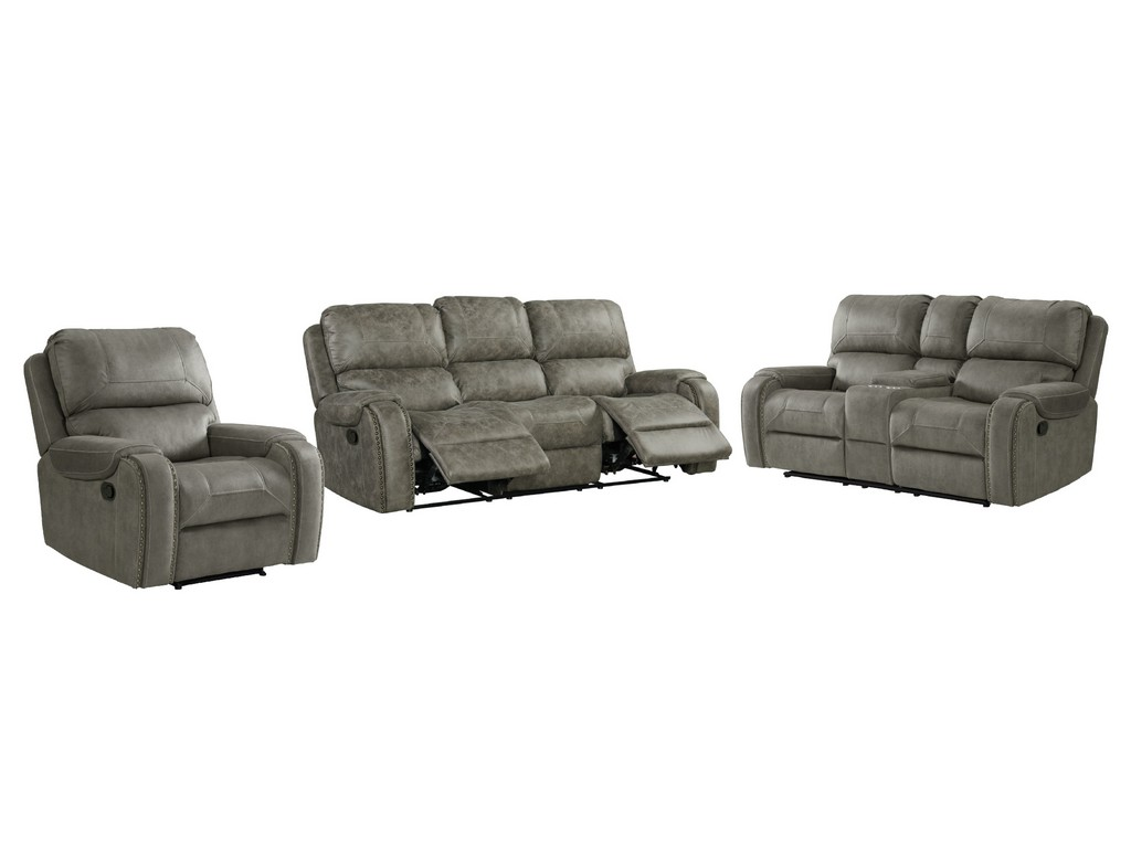Calvin Reclining Living Room Set Sofa Recliner Loveseat Storage Console Nailheads Easy Clean Gray Upholstery