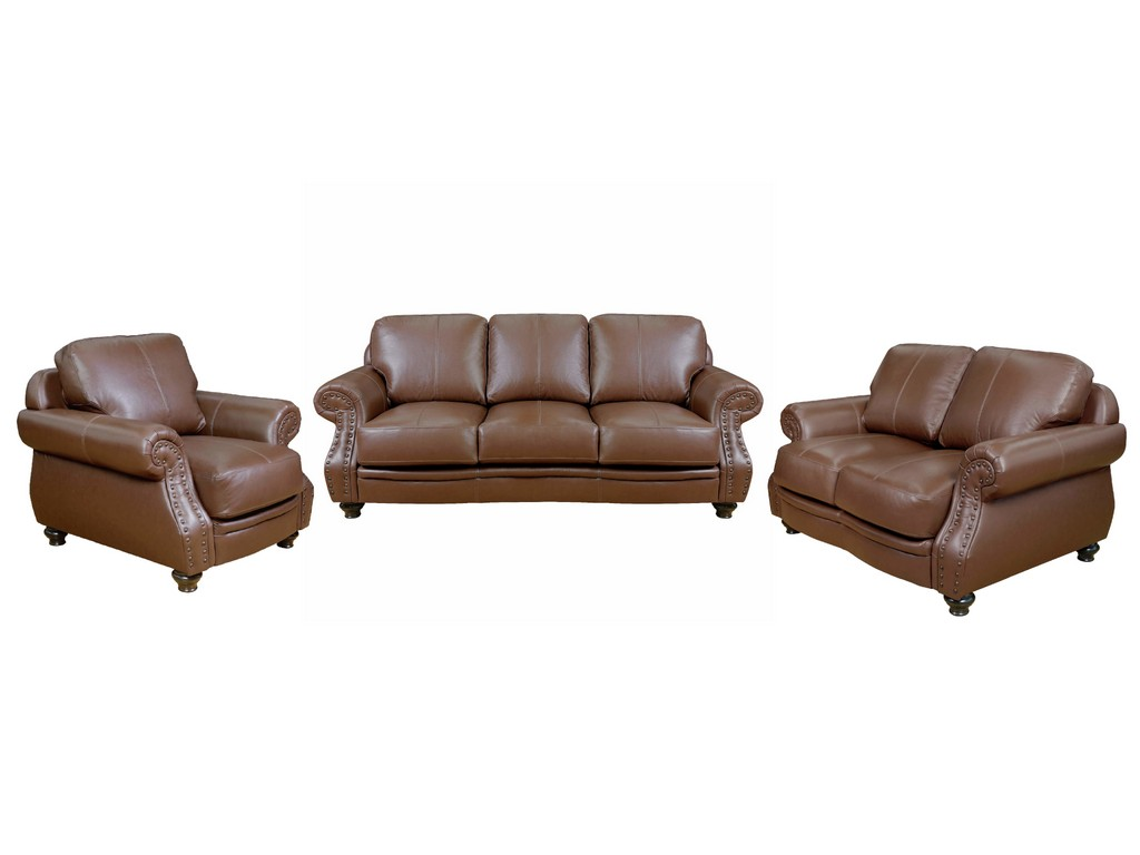 Top Grain Leather Living Room Set Chestnut Brown Rolled Arm Sofa Loveseat Chair Nailheads