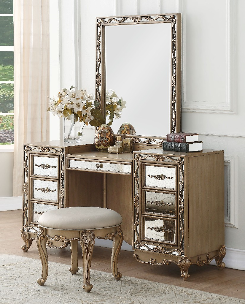Acme Vanity Desk Antique Gold