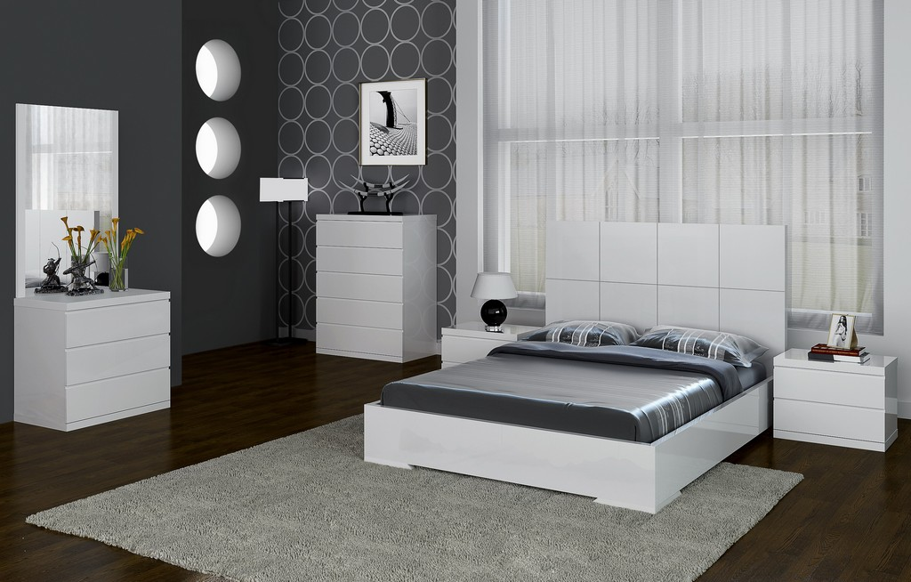 Anna Bed Full, Squares Design In Headboard, High Gloss White - Whiteline Modern Living BF1207-WHT
