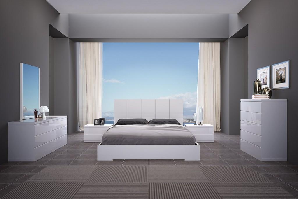 Anna Bed King, Squares Design In Headboard, High Gloss White - Whiteline Modern Living BK1207-WHT