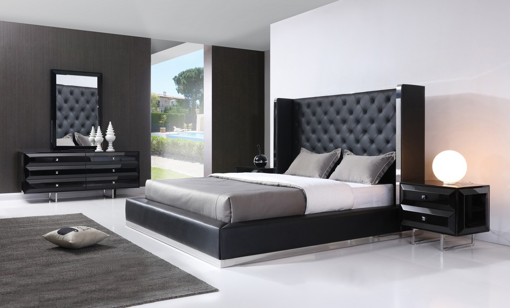Abrazo Bed Queen, Black Faux Leather, Tufted Headboard, - Whiteline Modern Living BQ1356P-BLK