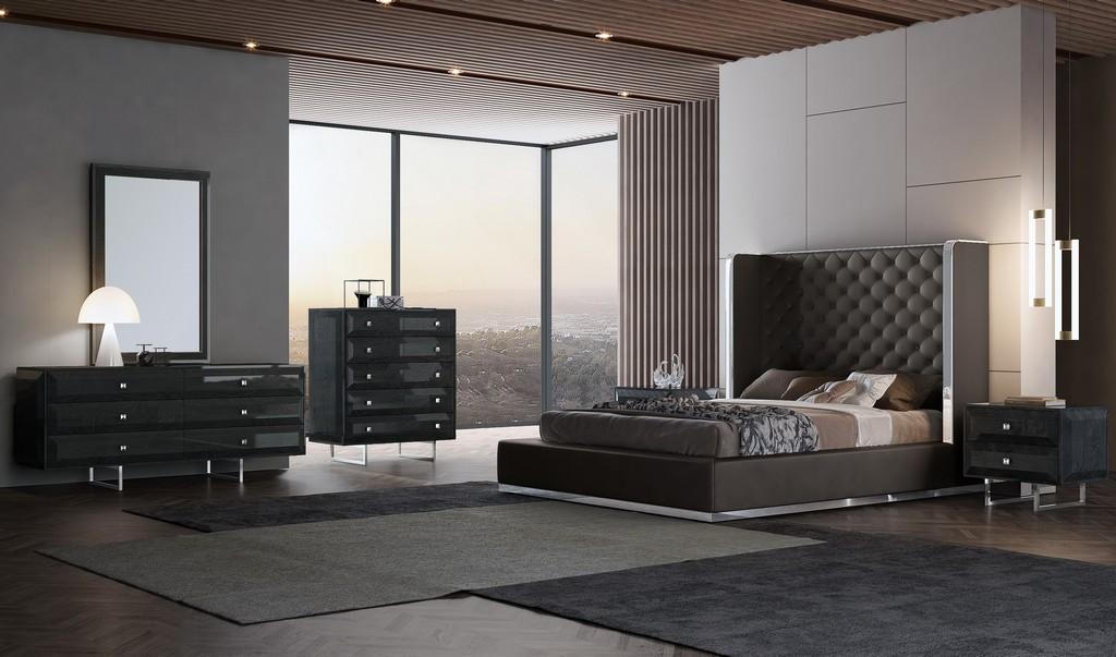 Abrazo Bed Queen Dark Grey Pu1050 - Whiteline Modern Living BQ1356P-DGRY