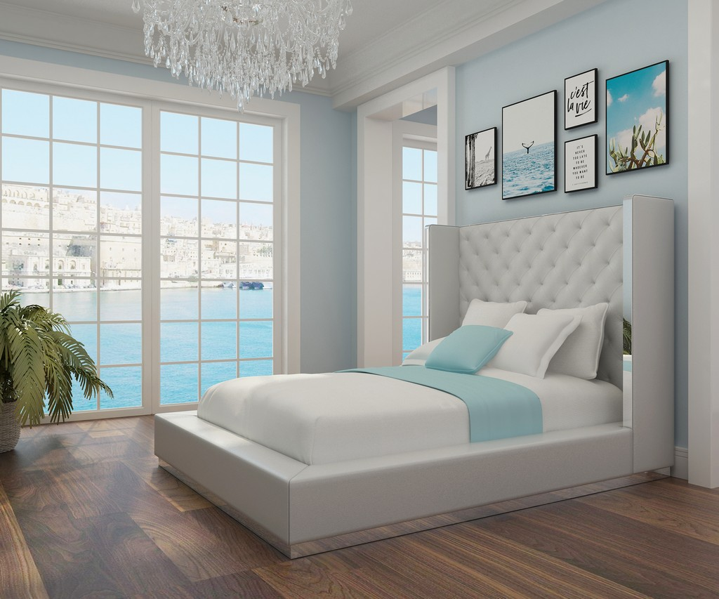 Abrazo Bed Queen, White Faux Leather, Tufted Headboard, Stainless Steel Trim - Whiteline Modern Living BQ1356P-WHT