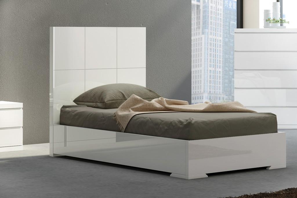 Anna Bed Twin, Squares Design In Headboard, High Gloss White - Whiteline Modern Living BT1207-WHT
