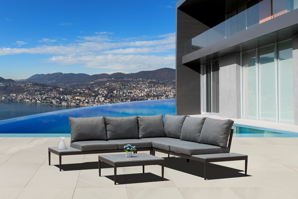 Shade Indoor Outdoor Sectional Coffee Table Taiwanese Olifen Cushions Grey Aluminum Base Anthracite Matte Power Coatinged