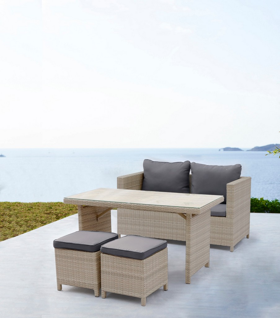 Abbie Outdoor Dining Collection, Beige Wicker With Aluminum Frame, 4Pc/Set Table In Gray - Whiteline Modern Living COL1692-BEI
