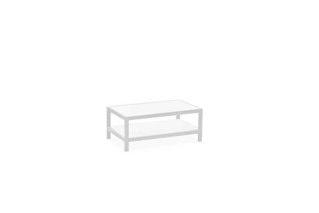 Angelina Outdoor / Indoor Coffee Table, White Aluminium Frame, 5 Mm Tempered White Glass Top And Shelve - Whiteline Modern Living CT1594-WHT
