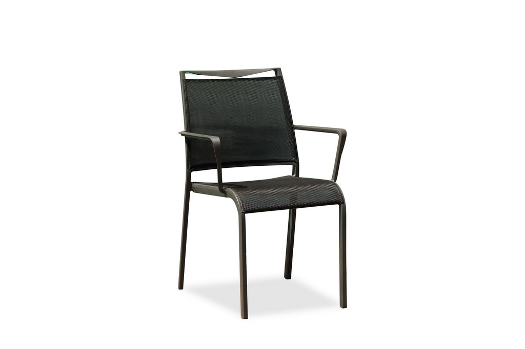 Aloha Indoor/Outdoor Dining Armchair Grey Aluminium Frame, Grey Textilene Sling Seat And Back, Stackable - Whiteline Modern Living DAC1566-GRY