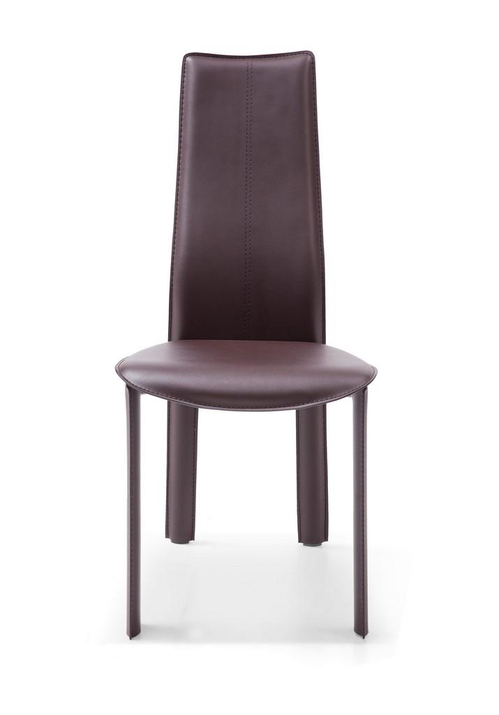 Allison Dining Chair Chocolate Hard Leather Matching Stitching - Whiteline Modern Living DC1004H-BRN