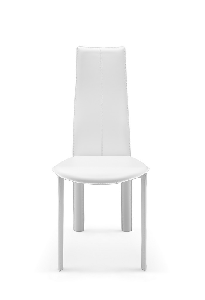 Allison Dining Chair White Hard Leather Matching Stitching - Whiteline Modern Living DC1004H-WHT