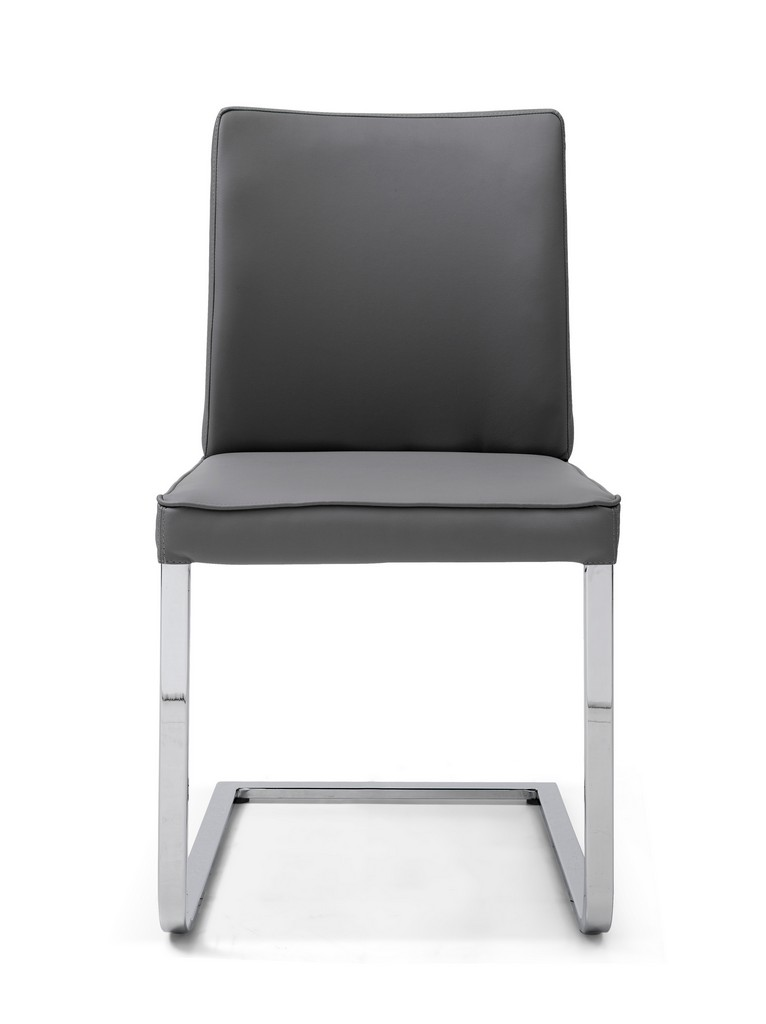 Whiteline Ivy Dining Chair Gray Faux Leather Chrome Frame