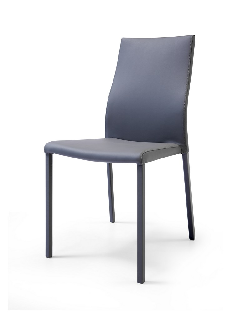 Whiteline Ellie Dining Chair Gray Faux Leather Stackable