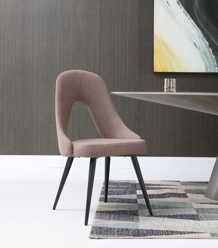 Whiteline Traci Dining Chair Fabric Powder Coated Metal Matt Black Color