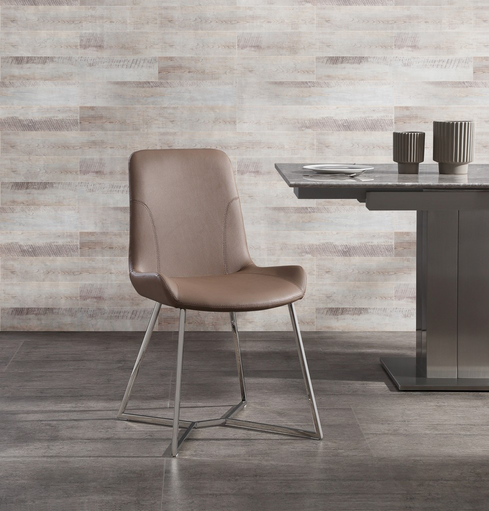 Aileen Dining Chair Taupe Faux Leather With Polished Stainless Steel Base Frame - Whiteline Modern Living DC1480-TAU