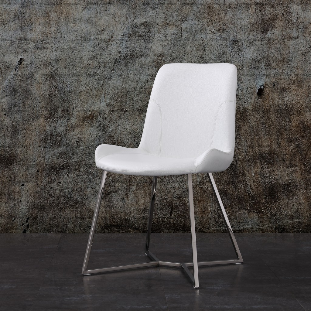 Aileen Dining Chair White Faux Leather With Polished Stainless Steel Base - Whiteline Modern Living DC1480-WHT