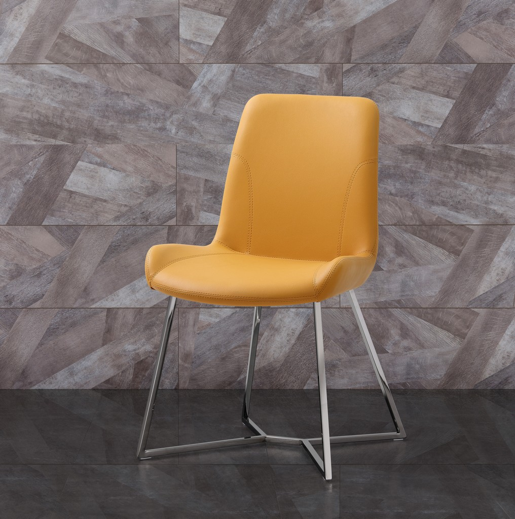 Aileen Dining Chair Yellow Faux Leather With Polished Stainless Steel Base - Whiteline Modern Living DC1480-YLW