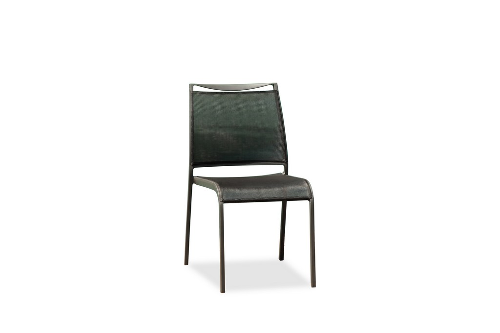 Aloha Indoor/Outdoor Dining Chair Grey Aluminium Frame, Grey Textilene Sling Seat And Back, Stackable - Whiteline Modern Living DC1566-GRY