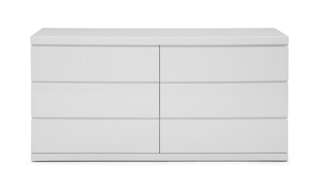Anna Dresser Double High Gloss White Self Close Runners - Whiteline Modern Living DR1207D-WHT