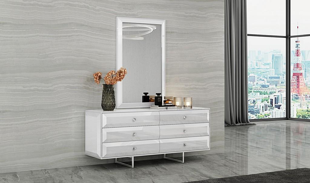 Abrazo Dresser High Gloss White 6 Self-Close Drawers With Geometric Design Chrome Handles - Whiteline Modern Living DR1356D-WHT