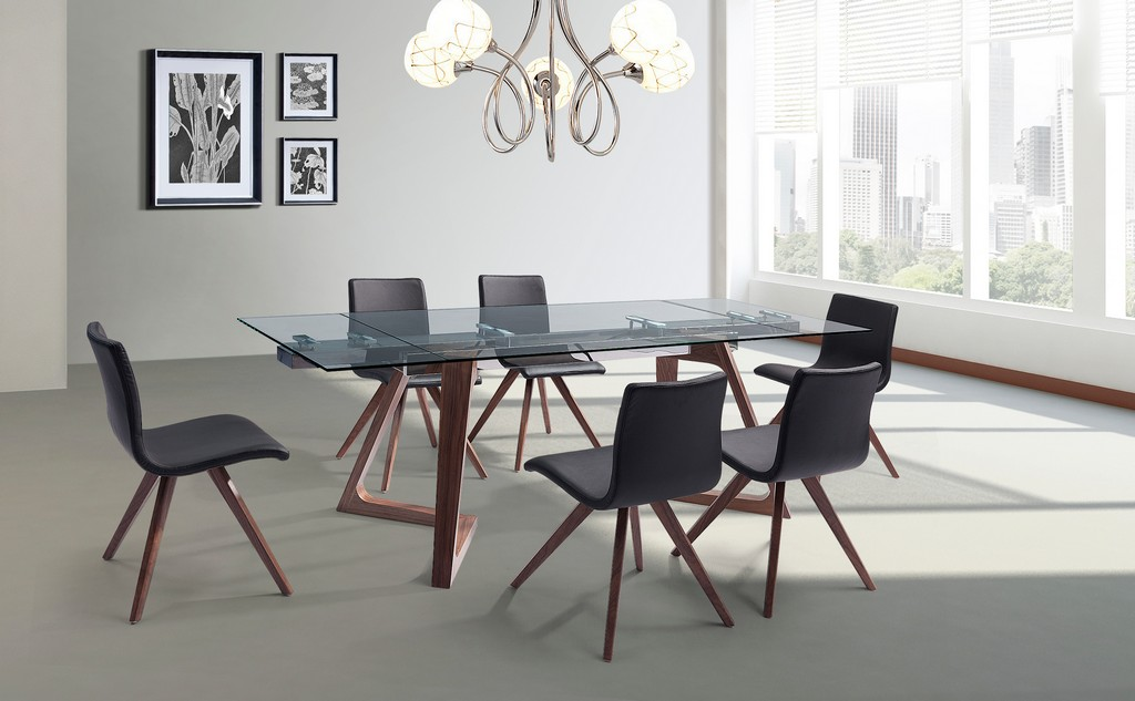 Delta Extendable Dining Table Mm Tempered Clear Glass Top Steel Frame Poplar Wood Walnut Veneer Base