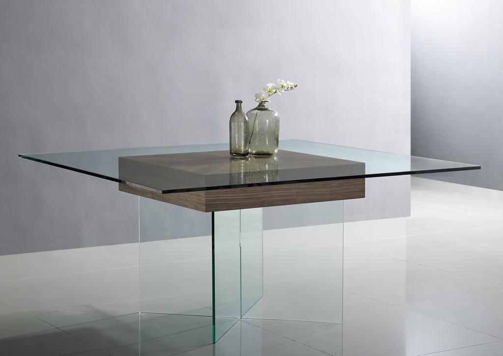 Roxana Dining Table Clear Glass Top Clear Glass Base Walnut Veneer Center